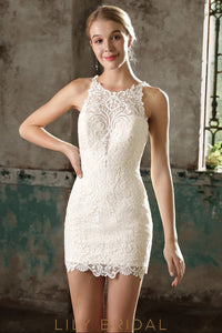 Ivory Lace Sleeveless Short Bodycon Illusion Wedding Dress
