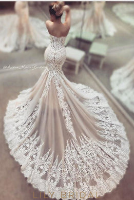 Ivory Lace Sweetheart Strapless A-Line Wedding Dress with Court Train