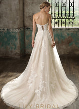 Ivory Lace Sweetheart A-Line Wedding Dress with Court Train