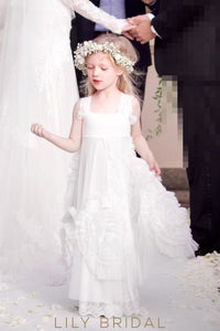 White Square Neckline A-Line Floor-Length Flower Girl Dress With Ruffles