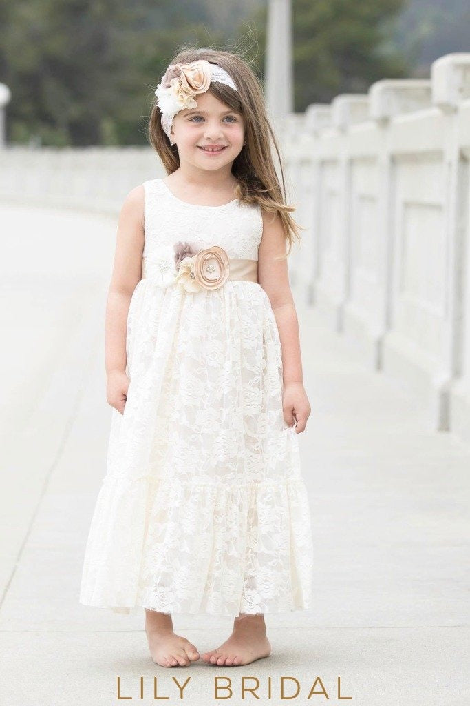 Ivory Lace Jewel Neckline Sleeveless A-Line Ankle Length Flower Girl Dress With Corsage