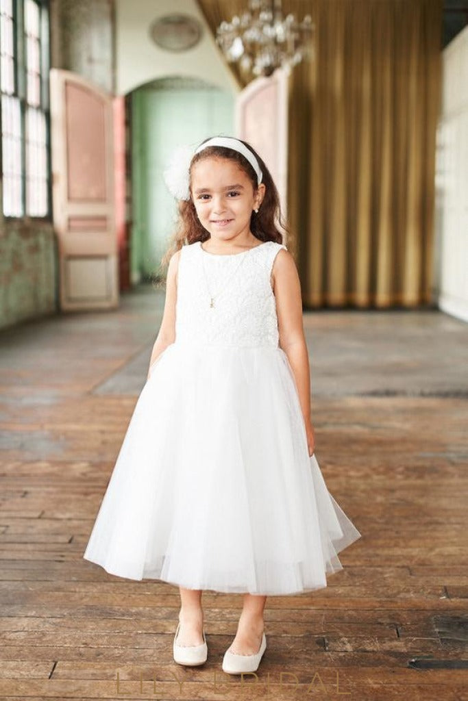 White Jewel A-Line Tea-Length Tulle Flower Girl Dress With Lace Bodice