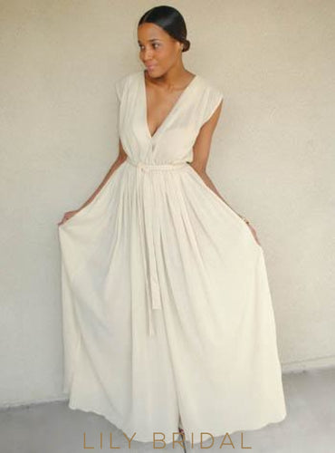 Ivory Low V-Neck Floor-Length Chiffon Wedding Dress With Ribbon