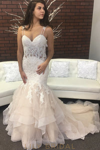 Ivory Organza Lace Sweetheart Dropped Waist Asymmetrical Wedding Dress