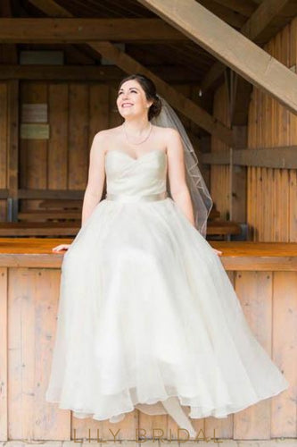 Ivory Organza Strapless Sweetheart Floor Length Plus Size Wedding Dress With Sash