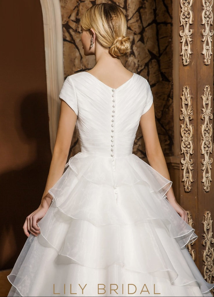 Ivory Organza V-Neckline Ball Gown Cap Sleeve Wedding Dress
