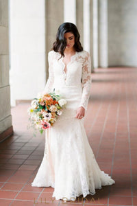 Ivory Plunging Deep V-Cut Neck Long Sleeve Mermaid Wedding Dress