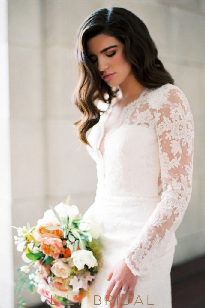 Ivory Plunging Deep V-Cut Neck Mermaid Wedding Dress