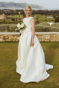 Ivory Satin Bateau Neckline Court Train Bridal Dress With Bowknot