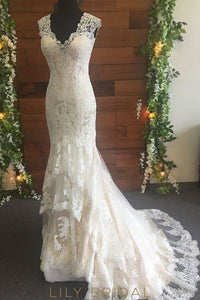 Ivory Satin Lace V-Shape Dropped Waist Mermaid Wedding Dress