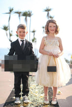 Champagne Square Neckline Knee-Length Sequinned Tulle Flower Girl Dress