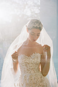 Ivory Single Layer Cathedral Veil in Silk Effect Tulle