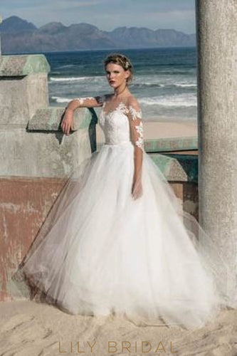 Ivory Sleeved Illusion Lace Tulle Beach Bridal Dress With Beads