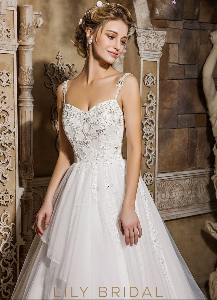 Sleeveless Sweetheart Tulle Ball Gown Beaded Wedding Dress