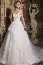 Ivory Sleeveless Sweetheart Tulle Ball Gown Beaded Wedding Dress