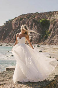 Ivory Spaghetti Strap Sweetheart Neck Floor-Length Tulle Beach Wedding Dress With Lace Applique