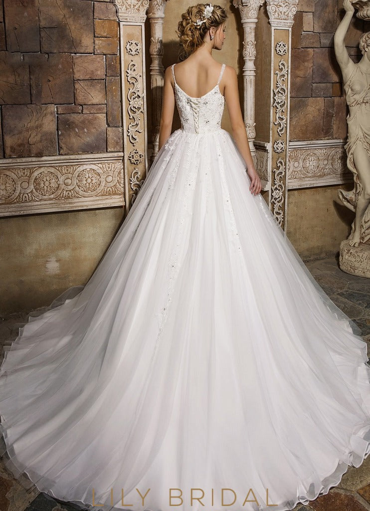 Ivory Sweetheart Tulle Ball Gown Beaded Wedding Dress