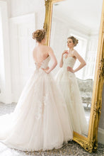 Ivory Tulle Backless Sweetheart Strapless Appliqued Wedding Dress With Lace Bodice