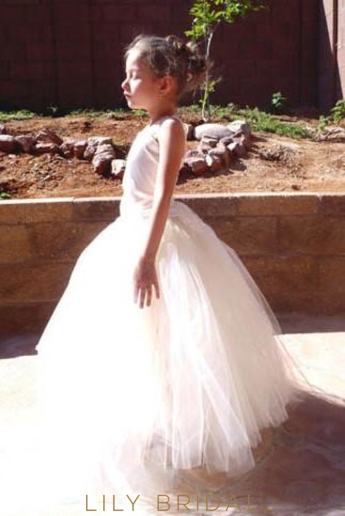 Ivory Tulle Ball Gown Corset Flower Girl Dress With Lace Dresses