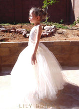 Ivory Tulle Ball Gown Corset Flower Girl Dress With Lace
