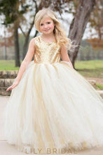 Ivory Tulle Ball Gown Flower Girl Dress With Keyhole Back Sequin Bodice