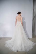 illusion cap sleeves ivory tulle floral appliques wedding dress