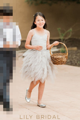 Silver Spaghetti Strap Knee-Length Ruffled Tulle Flower Girl Dress
