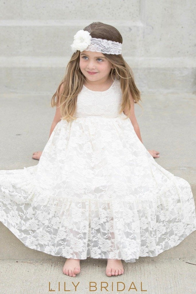 Ivory Lace Jewel Neckline Sleeveless Ankle Length Flower Girl Dress With Corsage