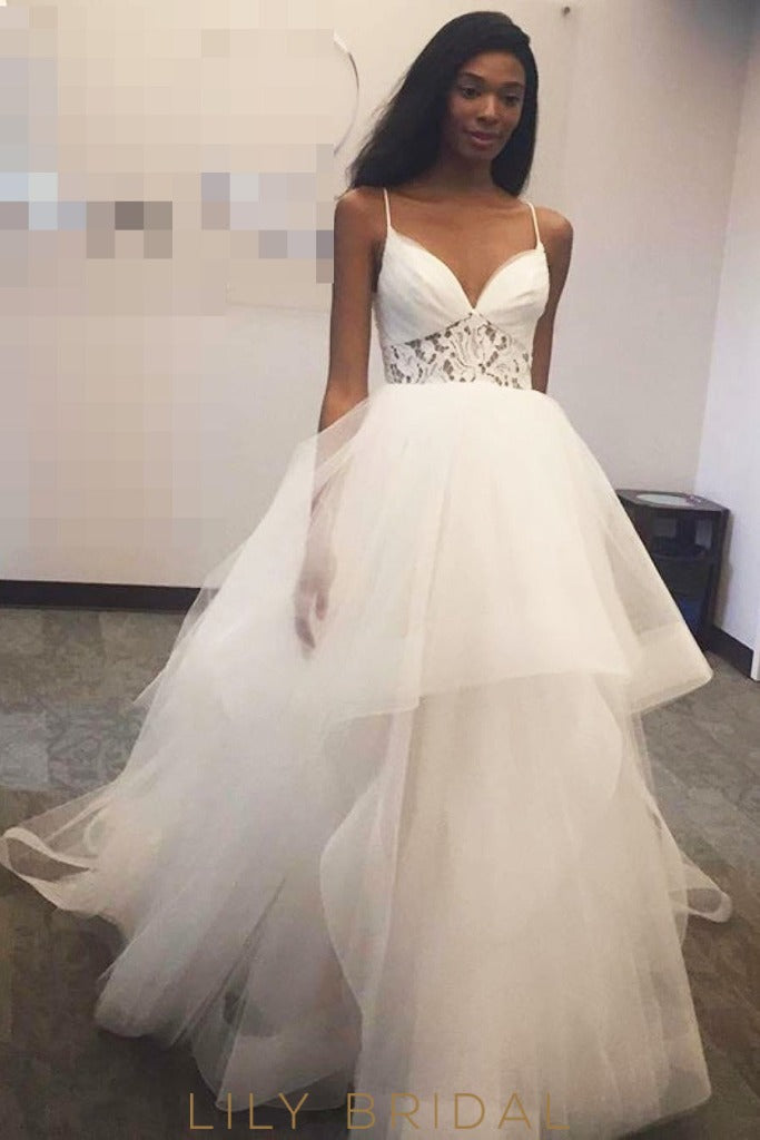 Ivory Tulle Sleeveless Ball Gown Wedding Dress with Envelope Back Style