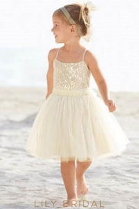 Ivory Tulle Spaghetti Strap Knee-Length Flower Girl Dress With Sequin Bodice Dresses