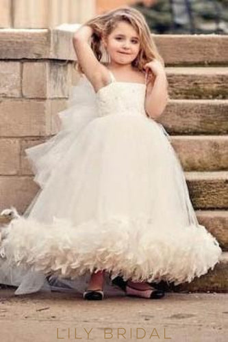 Ivory Tulle Strap Ankle-Length Flower Girl Dress With Train