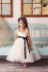 Ivory Tulle Sweetheart Strap Ankle-Length Flower Girl Dress With Ribbon