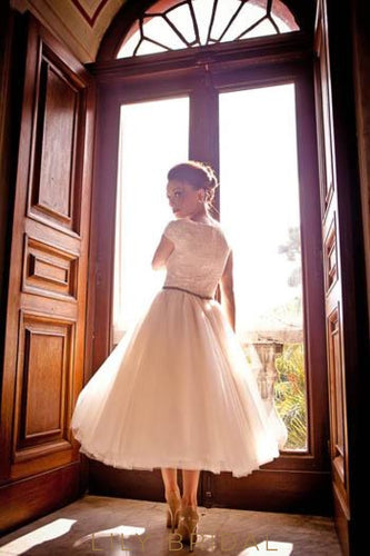 Ivory Tulle Tea-Length Bridal Dress With Cap Sleeve Appliqued Bodice