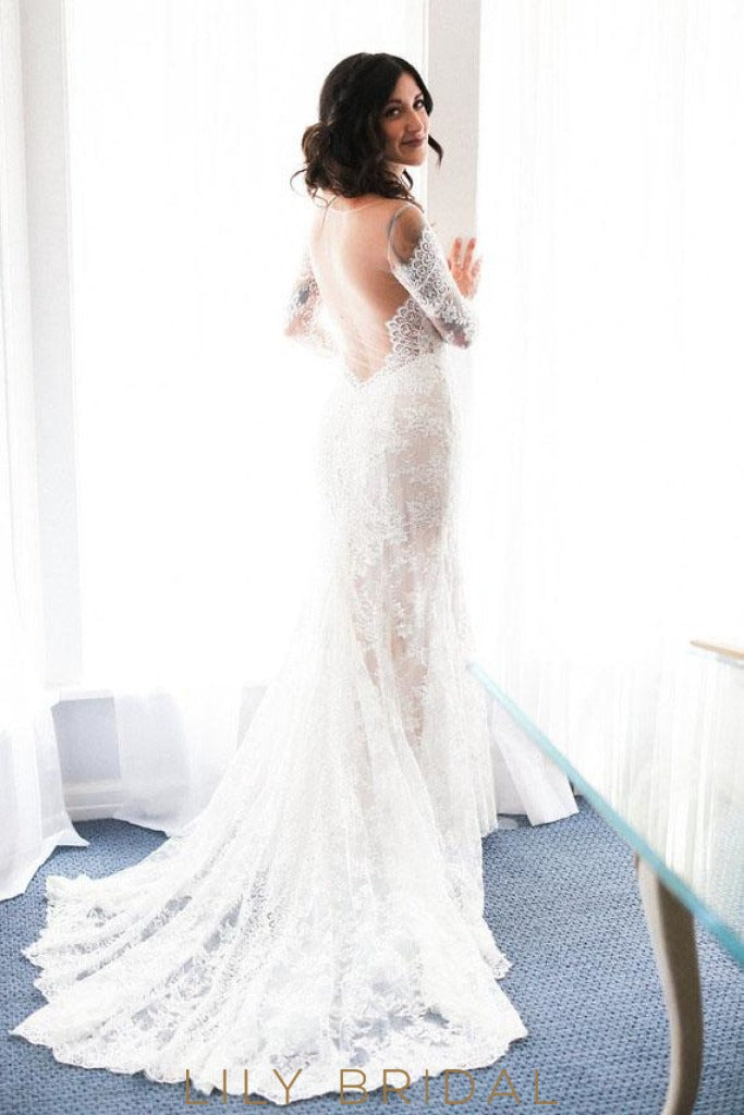 V-Neckline Lace Mermaid Long Sleeve Wedding Dress with Bold Sheer Back