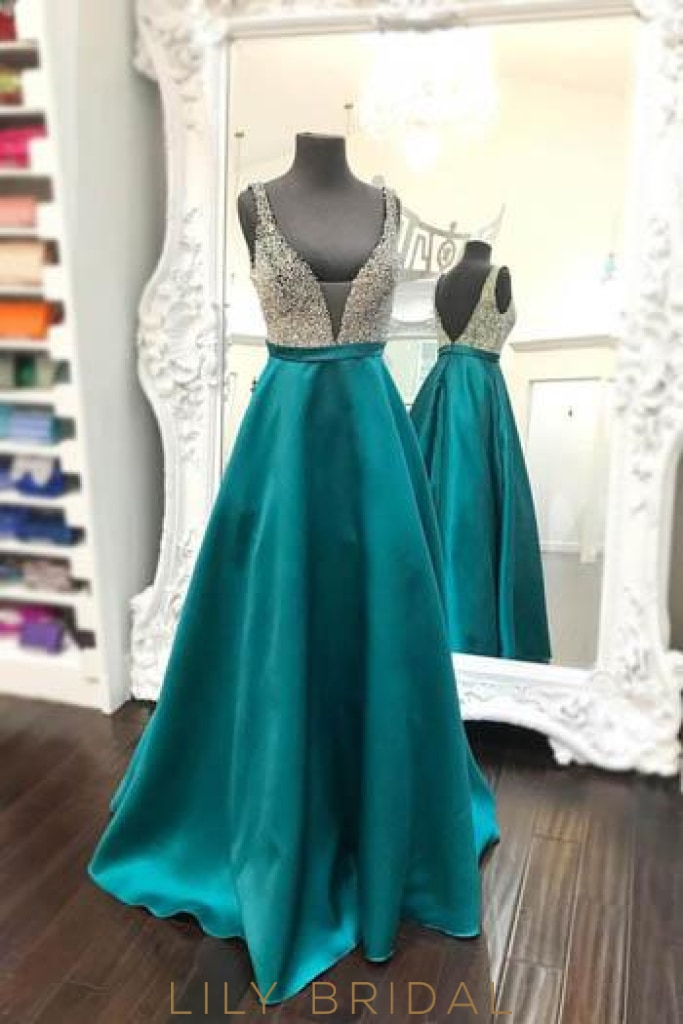 Jade Open Back Deep V-Neck Floor-Length Satin Evening Dress With Beaded Bodice
