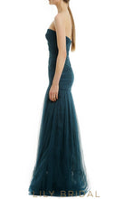 Sheathe Strapless Sweetheart Tulle Bridesmaid Dress With Ruched Top