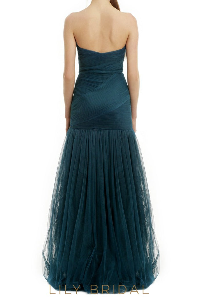 Sheathe Strapless Floor-Length Tulle Bridesmaid Dress With Ruched Top