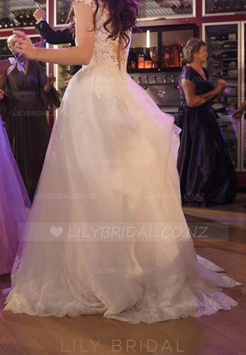 Jewel Neck Cap Sleeve Sequinned Lace Illusion Bridal Dress With Overskirt