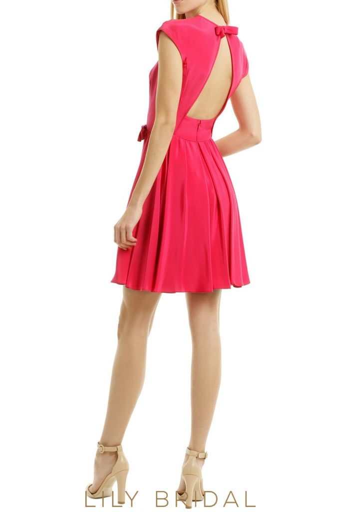 Jewel Neck Cap Sleeves Keyhole Back Short Satin Bridesmaid Dress