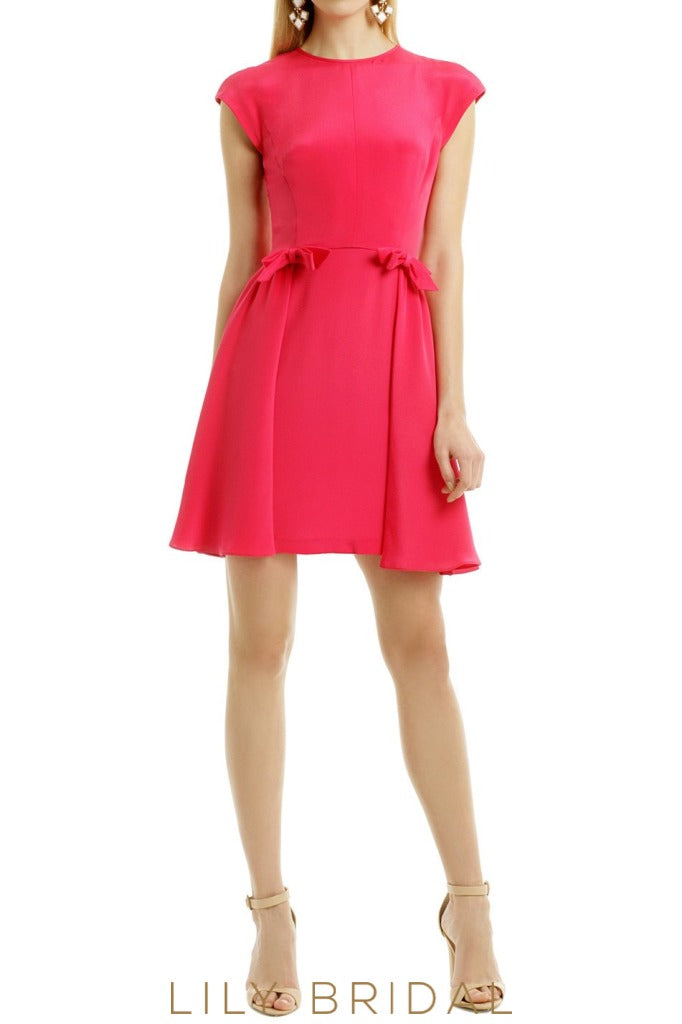 Jewel Neck Cap Sleeves Keyhole Back Short Satin Bridesmaid Dress With Knots
