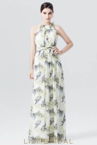 Jewel Neck Chiffon Floral Print Evening Dress With Ribbon