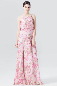 Jewel Neck Chiffon Floral Print Evening Dress With Slit