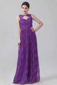 Jewel Neck Floor-Length Regency Floral Lace Bridesmaid Dress With Keyholes