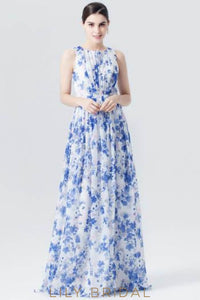 Jewel Neck Floor-Length Ruched Floral Print Chiffon Evening Dress