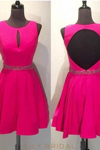 Jewel Neck Fuchsia Keyhole Cocktail Dress With Beaded Waistband