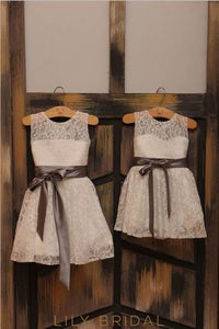 Jewel Neck Illusion Lace Flower Girl Dress With Satin Sash