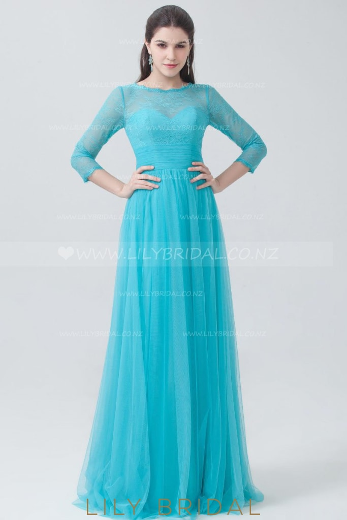 3/4 Sleeve Jewel Neck Illusion Tulle Bridesmaid Dress With Lace