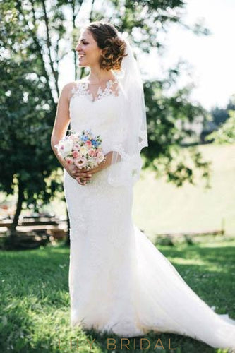 Jewel Neck Lace Illusion Mermaid Wedding Dress With Court Train