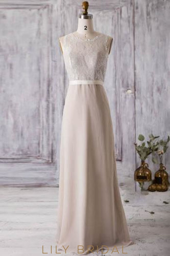 Jewel Neck Long Chiffon Bridesmaid Dress With Belt