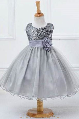 Jewel Neck Sequinned Ball Gown Flower Girl Dress With Sash